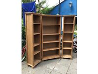Three ikea wooden bookcases