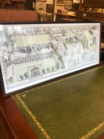 Framed picture of George Watson's School and grounds . Size - L 90cm x 39cm