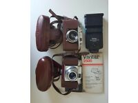 Halina 35x & Beirette Junior II viewfinder film cameras + flash