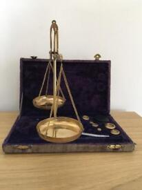 Vintage / antique Set of two brass scales with weights reduced price