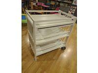 White Ikea Gulliver changing table - customised, two wheels, extra shelf