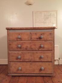 Heavy antique pine chest of drawers (free local delivery)