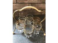 Vintage/ retro shot glasses and carry stand