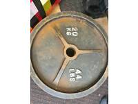2 x 20kgs cast iron Olympic weights