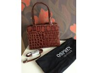 Handbag - Osprey Mid Brown Mock Croc, Multi Coloured Inner Lining, As New Condition