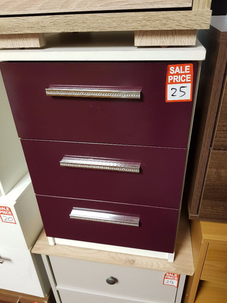 Collection Sparkle 3 Drawer Bedside Chest - Plum