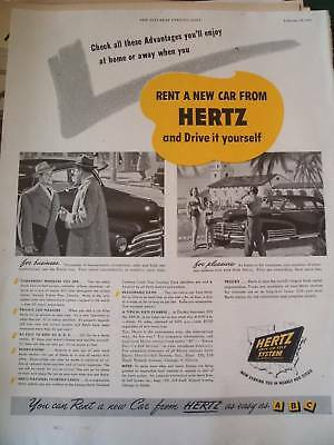 1949 Hertz Rental   Rent A Car And Drive Yourself   Ad