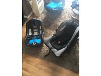 Baby car seat , up to 12 months , iso fix base , good as new