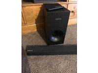 Samsung sound bar and subwoofer