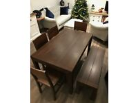 Modern Dark Brown Wooden Dining Table, x4 Chairs and Bench - 6 seater