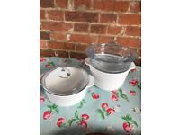 Ceramic cooking pots with steamer