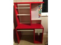 IKEA RED & WHITE COMPUTER DESK AND SHELVING UNIT