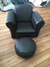Kids leather rocking chair with foot stall