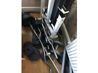 Over 100KG of weights with bars and bench
