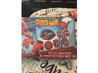 Spider man quad skates protection set
