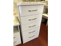 New high gloss white grey or oyster 5 drawer narrow chest tallboy £89 Take it home today