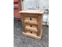 2x Mexican pine bedside 3 drawer tables