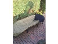 Bedchair , memory foam carp fishing. Trakker sleeping bag