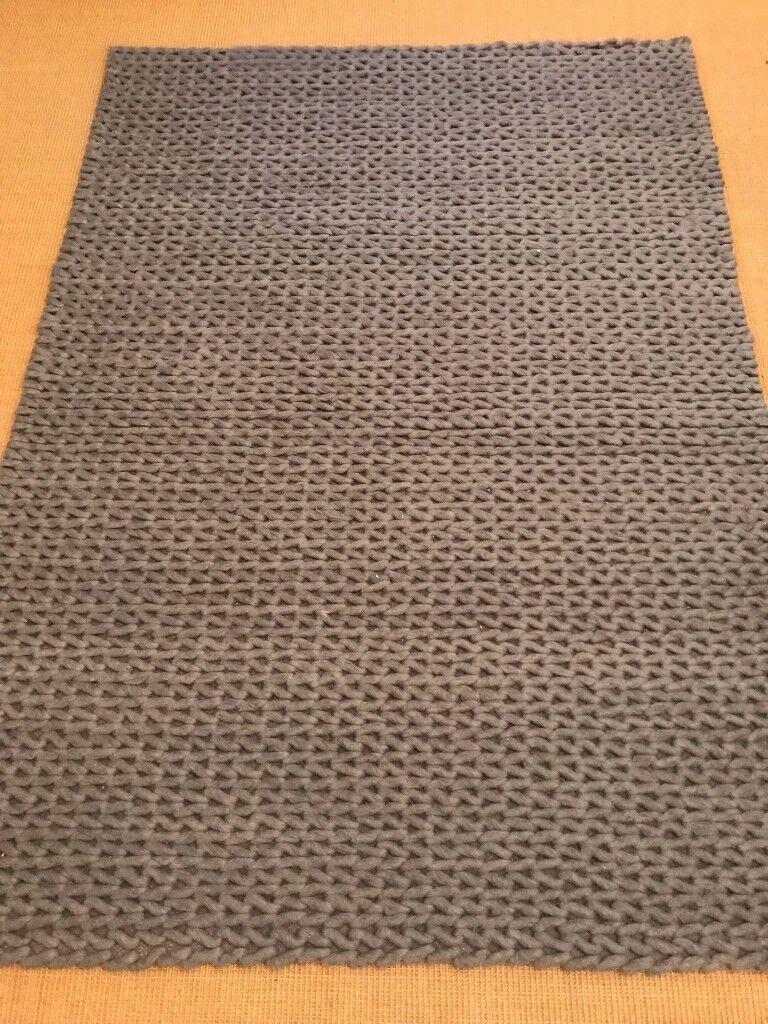 Large Grey Rug - 100% Hand Woven wool from RUG GURU
