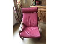 Ikea Poang chair in red leather and Dark wood in good used condition