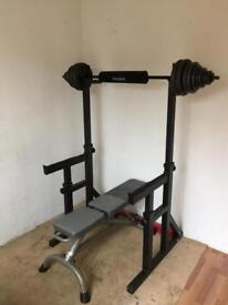 Weight bench and squat rack with weights