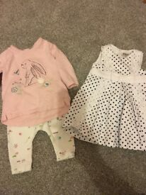 Bundle of baby girl clothes ranging from 0-3 months