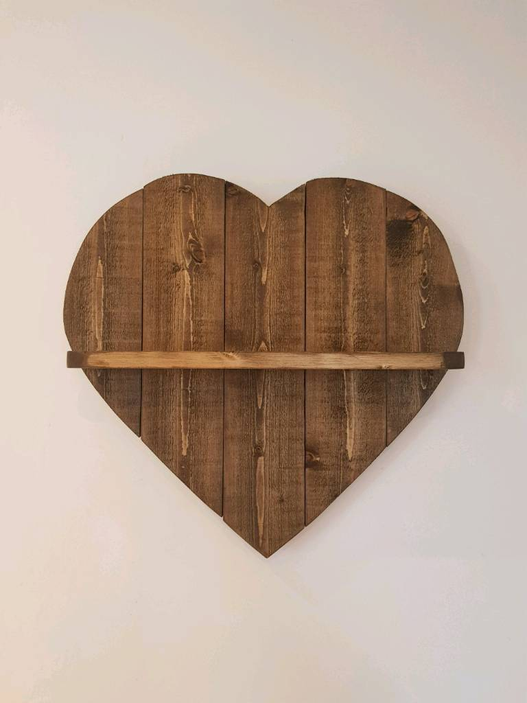 Valentine Day Gift Wooden Heart Plaque With Shelf In Bolsover