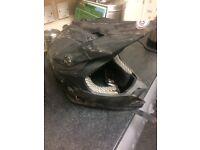Matt black motocross helmet