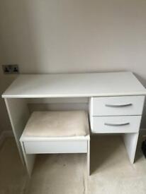 White desk and stool