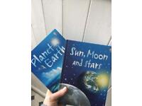 2 usborne books. Planet Earth and Sun, Moon and stars.