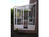Leanto Greenhouse - Robinsons - 3.4m x 1.94m - Two louvred windows - Glass and polycarbonate roof