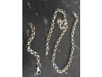 925 Sterling Silver belcher chain necklace and bracelet