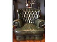 Dark Green Leather Chesterfield Style Armchairs