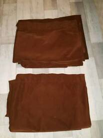 2 x Brown Velvet Curtains