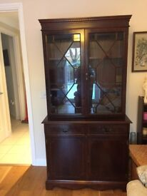 Dark wood glass door storage unit VGC