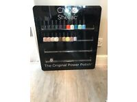 Cnd wall mountable varnish stand with 20 cnd shellacs