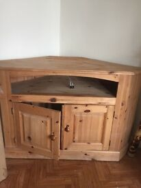 Corner Pine tv unit... large in size ... solid piece!