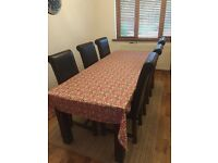 Solid dining table with 6 chairs