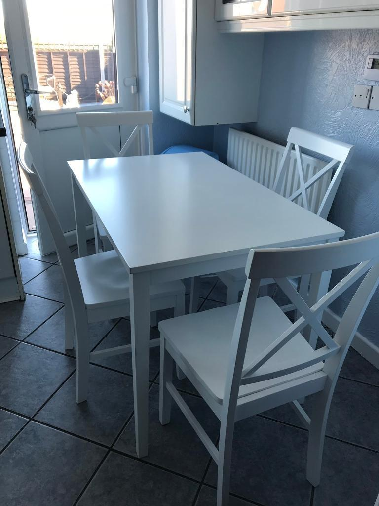 White kitchen table and four chairs | in Newcastle-under-Lyme ...