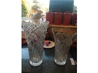 Heavy Cut glass/crystal vases