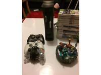 Xbox 360 bundle, hard drive, 3 controllers, 18 games