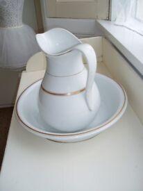 Victorian white ceramic jug & bowl set with gold trim