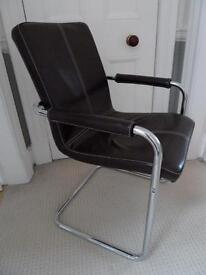 Desk chair - brown leather and chrome