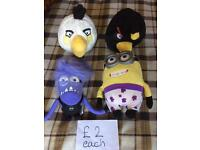 Minions and Angry Birds plush
