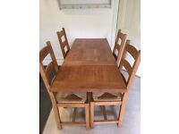 SOLID WOOD DINING TABLE WITH 4 CHAIRS + FREE DELIVERY
