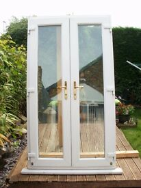 White UPVC French Doors and frame.