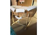 Moses Basket with stand and inside fitted winnie the pooh moses cover/sheet and matress