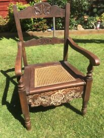 Refurbished Antique Commode Chair.