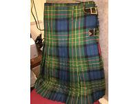 "Handsome Quality Gents Heavy Scottish 100% Pure Wool Tartan Plaid Kilt 40"" Waist"