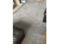 Large silver shaggy rug 200x290